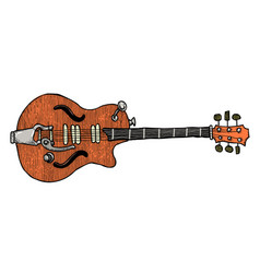 cartoon image of electric guitar vector image