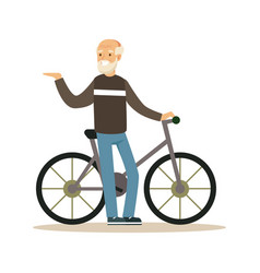 Happy senior man walking with bike healthy active vector