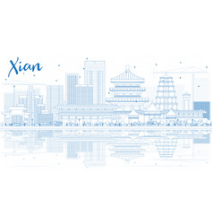 Outline xian skyline with blue buildings and vector