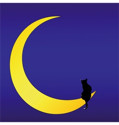 The cat on the moon love song vector