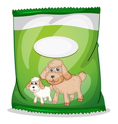 A green dogfood pouch with an empty label vector