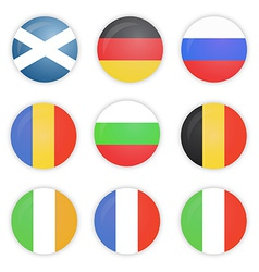 Round flags of europe countries vector