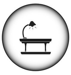Round icon with table lamp vector