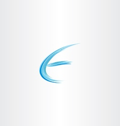 Blue letter e water wave icon vector