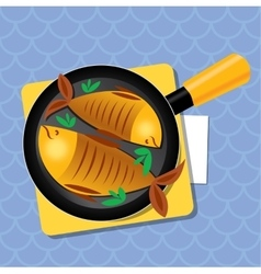 Fried fish on a pan on the table dinner vector