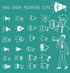 Hand drawn megaphone icons vector