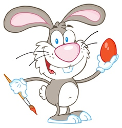 Gray rabbit painting easter egg vector