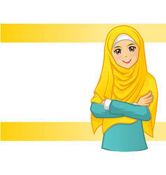 Muslim woman wearing yellow veil with folded arms vector