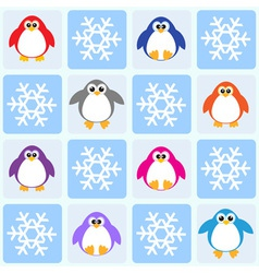 Penguins and snowflakes vector image