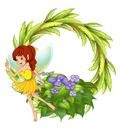 A round border with a fairy in her yellow dress vector image vector image