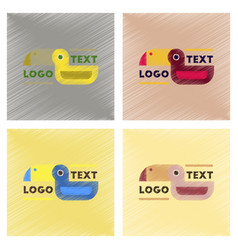 Assembly flat shading style icons bird logo vector