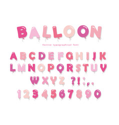 balloon pink font cute abc letters and numbers vector image vector image