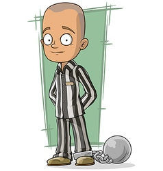 Cartoon bald prisoner with metal vector image vector image