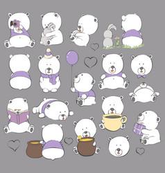 cartoon bears on a dark background vector image vector image