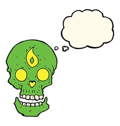 Cartoon mystic skull with thought bubble vector