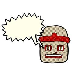 Cartoon robot head with speech bubble vector