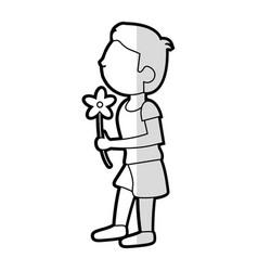 cartoon son boy flower vector image