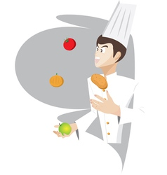 Chef is juggling the food vector image vector image