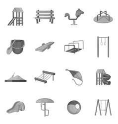Children playground icons set vector