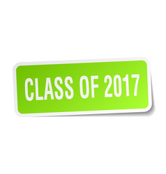 Class of 2017 square sticker on white vector