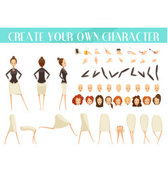 creation of woman cartoon style set vector image vector image