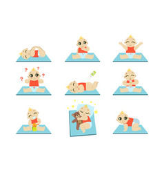 Cute baby icons set vector