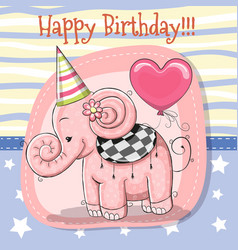 cute cartoon elephant with balloon vector image