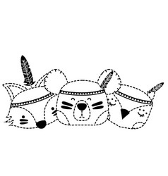Dotted shape animals head friends with feathers vector