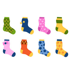 Flat design colorful socks set vector