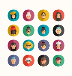 Flat Design Professional People Avatar Icon Set vector image vector image