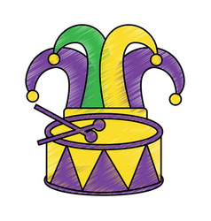 harlequin hat and drum mardi gras carnival icon vector image