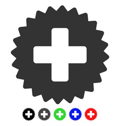 Health care stamp flat icon vector