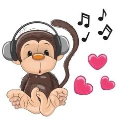 Monkey with headphones vector