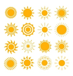 Orange Sun icons vector image vector image