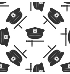 Police cap and baton icon seamless pattern on vector