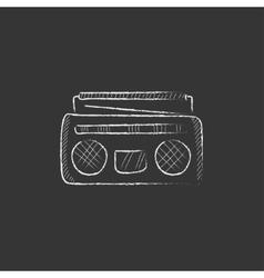 Radio cassette player drawn in chalk icon vector