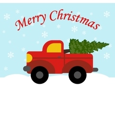 Red truck with christmas tree vector