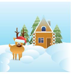 reindeer in santa hat near gingerbread house vector image