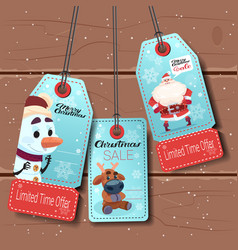 set of new year sale tags with cartoon snowman vector image vector image