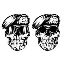 Skull in beret vector image