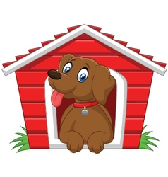 Smiling dog in his doghouse vector image vector image