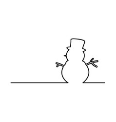 Snowman black line isolated on white vector