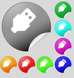 USB icon sign Set of eight multi-colored round vector image vector image