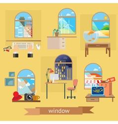 Window set of flat design vector image vector image