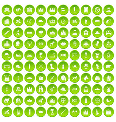 100 horsemanship icons set green circle vector