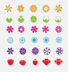 Set of bright flower stickers vector image