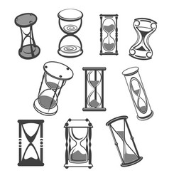 Hourglass isolated icons set vector