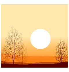 Winter sunset vector