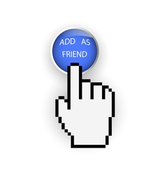 Round blue button with add as friend and hand vector