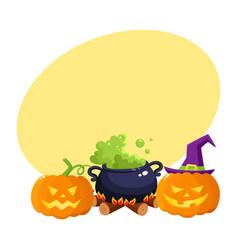 Hallowing pumpkin lanterns black iron caldron vector
